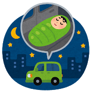 車中泊、運転席で眠るには